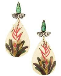 Silvia Furmanovich Marquetry 18k Yellow Gold, Tourmaline, Light Brown Diamond & Wood Flower Teardrop Earrings - Metallic