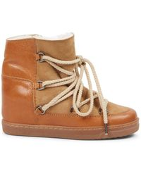 Isabel Marant Nowles Shearling-lined Suede & Leather Boots - Natural