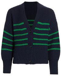 Munthe Tupper Striped Cabled Cardigan - Blue