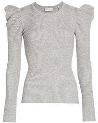 7 For All Mankind Puff-shoulder Crewneck Sweater - Gray