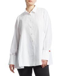 Marina Rinaldi - Baghera Pleated Button-down Shirt - Lyst