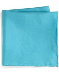Saks Fifth Avenue Collection Silk Solid Pocket Square - Blue