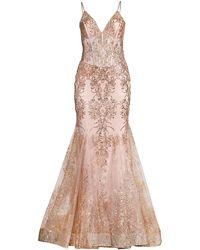 Jovani Embellished Lace Trumpet Gown - Pink