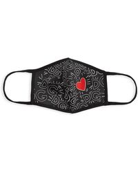 Dolce & Gabbana Logo-print Heart Face Mask - Black