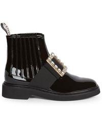 Roger Vivier Viv Rangers Patent Leather Ankle Boots - Black