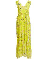 Tanya Taylor Catalina Floral-print V-neck Sleeveless Maxi Dress - Yellow