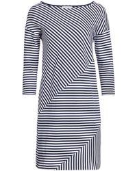 Joan Vass Striped 3/4-sleeve Shift Dress - Blue