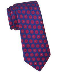Charvet Large Scale Medallion Silk Tie - Red