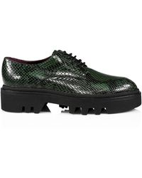 Dries Van Noten Lug-sole Python-embossed Leather Oxfords - Green