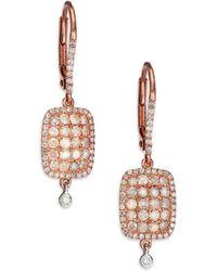 Meira T - Diamond & 14k Rose & White Gold Ice Drop Earrings - Lyst
