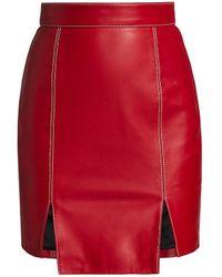 Kirin Contrast Stitch Leather Skirt - Red