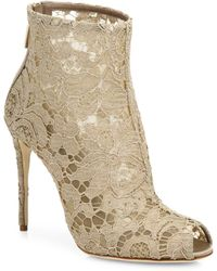 Dolce & Gabbana - Peep-Toe Lace Ankle Boots - Lyst