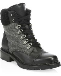 Frye - Samantha Leather & Shearling Hiker Boots - Lyst