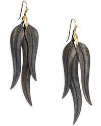 Annette Ferdinandsen - Oxidized Sterling Silver And 14k Gold Feather Drop Earrings - Lyst