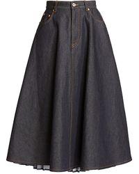 Loewe Pleated Denim Skirt - Blue