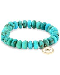 Sydney Evan - 14k Yellow Gold, Diamond, Sapphire & Turquoise Evil Eye Beaded Bracelet - Lyst