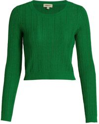 L'Agence Aceline Wool-blend Cropped Pullover Sweater - Green