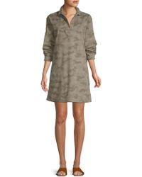ATM - Long Sleeve Cotton Camo Shirtdress - Lyst