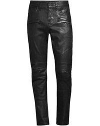 Hudson Jeans Blinder Leather Moto Skinny Jeans - Black