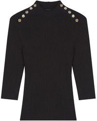Maje Buttoned Ribbed Knit Sweater - Black