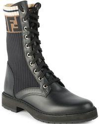 Fendi Rockoko Knit Leather Combat Boots - Black