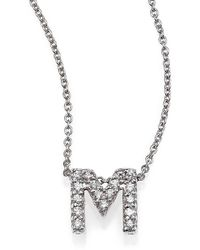 Roberto Coin - Tiny Treasures 0.08 Tcw Diamond & 18k White Gold Initial Necklace - Lyst