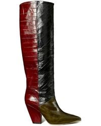 Tory Burch Lila Two-tone Eel Leather Knee-high Boots - Red