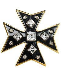 Kenneth Jay Lane Cross 22k Goldplated Pin - Metallic