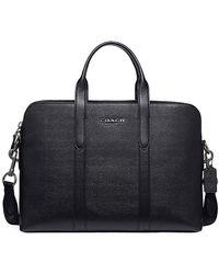 COACH Metropolitan Pebbled Leather Briefcase - Black