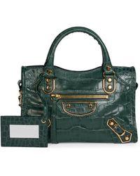Balenciaga Mini City Croc-embossed Leather Satchel - Green
