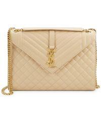 Saint Laurent - Large Monogram Matelassé Leather Envelope Shoulder Bag - Lyst