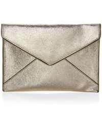 Rebecca Minkoff - Leo Crackle Leather Clutch - Lyst