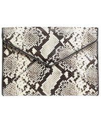 Rebecca Minkoff Leo Snakeskin-embossed Leather Envelope Clutch - Natural
