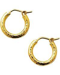 Elizabeth Locke Gold Hammered 19k Yellow Gold Big Baby Hoop Earrings - Metallic
