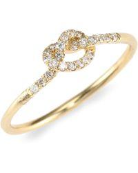 Sydney Evan - 14k Yellow Gold & Diamond Love Knot Ring - Lyst