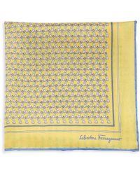 Ferragamo Elephant-print Pocket Square - Yellow