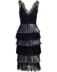 1c7c9ae2 Marchesa notte - Women's Tiered Lace Midi Dress - Navy - Lyst
