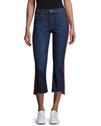 Mother Insider High-rise Side Stripe Raw Hem Cropped Jeans - Multicolor