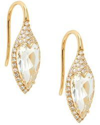 Samira 13 18k Yellow Gold, Topaz Heart & Diamond Pavé Hook Earrings - Metallic