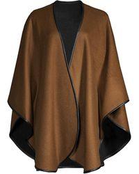 Sofia Cashmere Cashmere Leather-trim Reversible Cashmere Cape - Brown