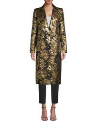 Smythe - Soire Floral Metallic Jacquard Coat - Lyst