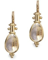Temple St. Clair - Classic Rock Crystal & 18k Yellow Gold Amulet Drop Earrings - Lyst