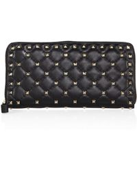 Valentino   Rockstud Spike Quilted Leather Zip-around Continental Wallet   Lyst