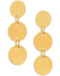 Nest - Brushed Disc Drop Earrings - Lyst
