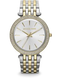 Michael Kors - Darci Pave Two-tone Stainless Steel Bracelet Watch - Lyst