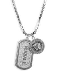 Versace - Medusa Dog Tag Necklace - Lyst