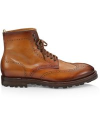 Officine Generale - Vail Wingtip Leather Lace-up Boots - Lyst