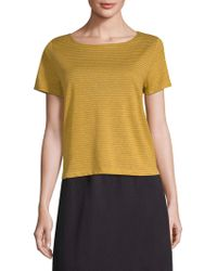 Eileen Fisher - Organic Linen Ministripe Tee - Lyst