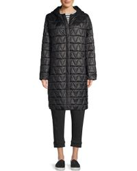 Eileen Fisher - Hooded Quilted Coat - Lyst
