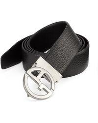 Emporio Armani - Plate Leather Belt - Lyst